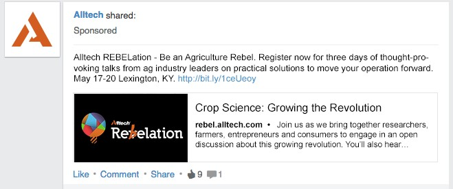 LinkedIn sponsored post example marketing to farmers