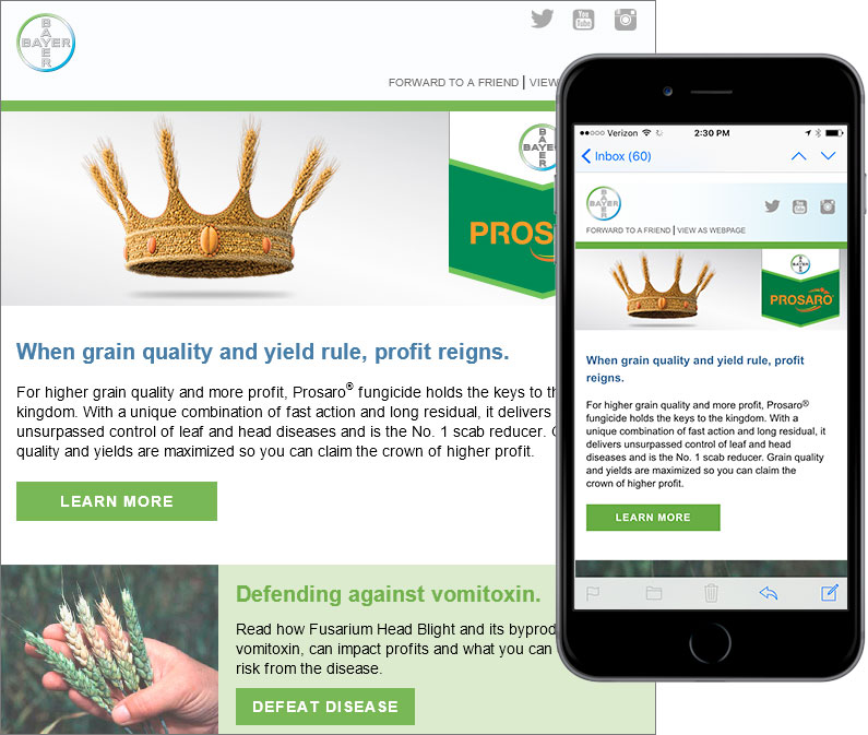 email marketing to farmers responsive design