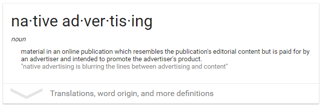 Definition of Native Advertising
